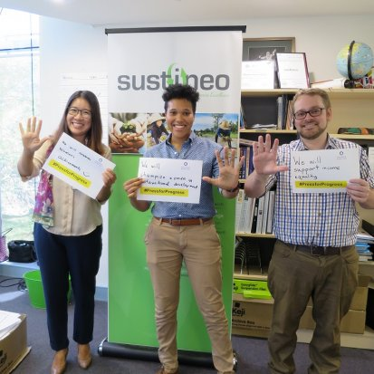 Min, Victoria and Will #PressForProgress in the Sustineo Office